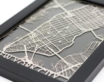 "New York City Stainless Steel Laser Cut Map - 5x7"" Framed   Wall Art"