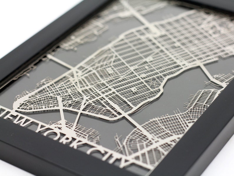 New York City Stainless Steel Laser Cut Map  5x7 Framed image 0