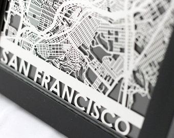 "San Francisco California Stainless Steel Laser Cut Map - 5x7"" Framed | Wall Art"