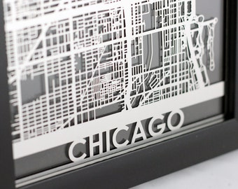 """Chicago Illinois Stainless Steel Laser Cut Map - 5x7"""" Framed 