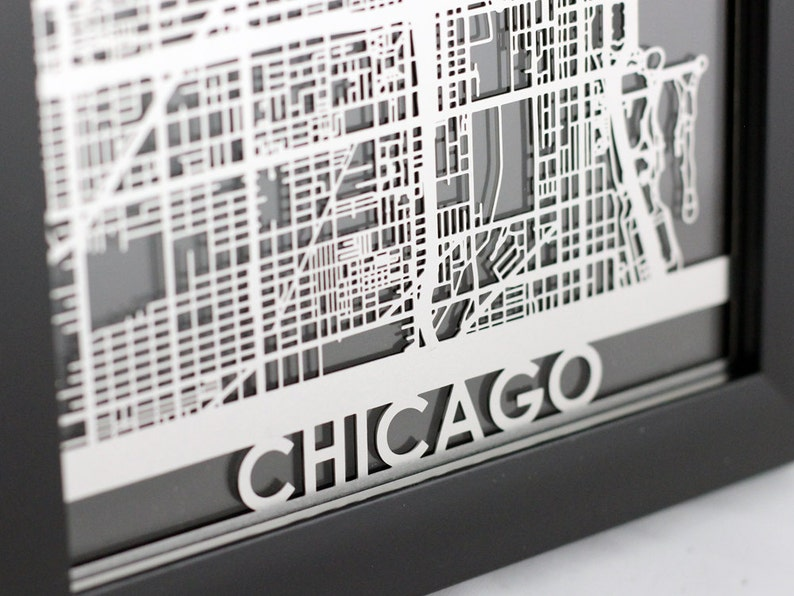 Chicago Illinois Stainless Steel Laser Cut Map  5x7 image 0