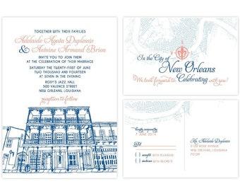 "DIGITAL INVITATION     French Quarter Soiree Invitation Suite     5"" x 7"" Invitation & 4"" x 6"" RSVP"