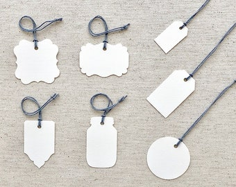 TAGS & ESCORT CARDS | Blank or Printed Furniture Multipurpose Tags | Set of 50 | Choice of 7 Tag Shapes, 2 Paper Types and 2 Finishes