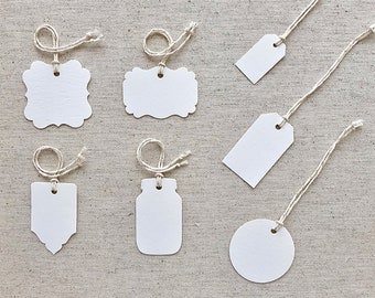 TAGS & ESCORT CARDS | Blank or Printed 35% Cotton Multipurpose Tags | Set of 50 | Choice of 7 Tag Shapes and 2 Finishes