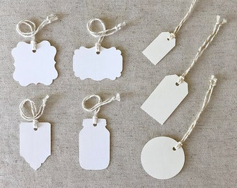 TAGS & ESCORT CARDS | Blank or Printed Laid Multipurpose Tags | Set of 50 | Choice of 7 Tag Shapes, 2 Paper Colors and 2 Finishes