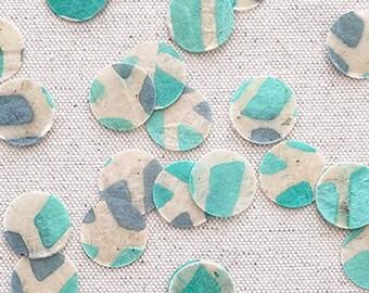 "LAGNIAPPE CONFETTI MIX | 0.75"" Confetti | 300+ Pieces | Green & Blue Abstract Leaf Paper"