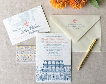 "PRINTED INVITATION   French Quarter Soiree Invitation Suite   5"" x 7"" Invitation & 4"" x 6"" RSVP with A7 Matte Envelope"