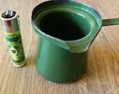 Vintage Signed 1962 Small Green Enamel Turkish Coffee Tea Pot