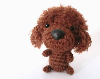 Amigurumi French Poodle, crochet French Poodle, Brown Poodle toy.  Brown Poodle plushie. Crochet dog.