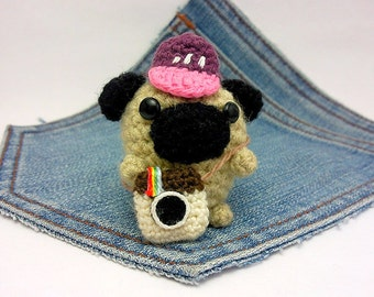 Amigurumi Pug photographer + tiny instagram camera + cap. Say Cheese. Crochet Pug. Instagram Dog.