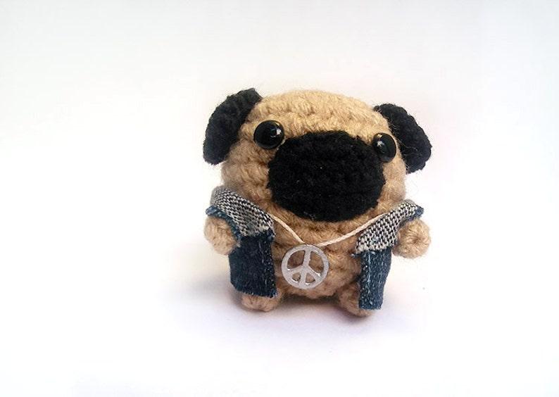 Amigurumi Peace Pug,Peace crochet Pug Pug plushie with peace sign.
