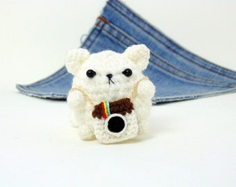 Amigurumi, crochet cat photographer plus tiny instagram camera . Say Cheese. Cat plushie,crochet cat. Instagram cat.Stocking stuffer.