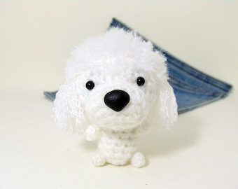 Amigurumi miniature French Poodle, crochet  white French Poodle. Crochet dog.