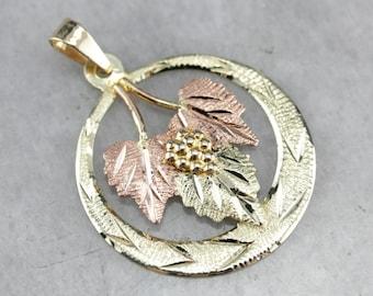 Vintage Black Hills Gold Pendant, Mix Metal Pendant, Floral Pendant L6ER2WFQ