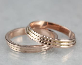 Vintage Rose Gold Band, Guard Bands, Stacking Rings, Wedding Band 3YQPNELF-R