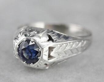 Stunning Men's Art Deco Sapphire Ring, Men's Engagement Ring, Right Hand Ring CZ0Q96TA-P