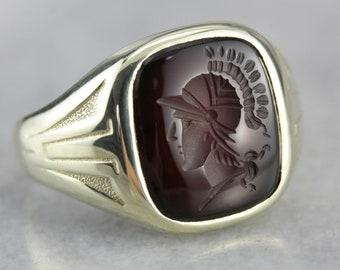 Art Nouveau Carnelian Intaglio Ring, Men's Intaglio Ring, Men's Statement Ring XD90ZCU2