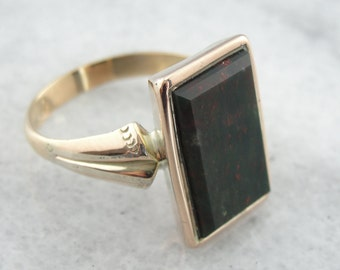 Classic and Sophisticated Ladies Vintage Bloodstone Ring with Crisp Profile XCYXD3-P
