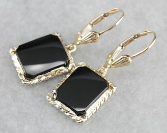 Black Onyx and Gold Earrings, Onyx Drop Earrings, Yellow Gold Earrings K7WE7CEK-D