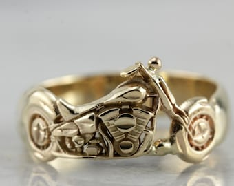 Vintage Detailed Motorcycle Ring in Yellow Gold 32R680-P