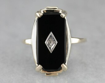 Reserved - Layaway for Shannon D. - DO NOT PURCHASE!! - Ladies Classic Black Onyx Ring, Vintage Diamond Black Onyx Ring YXA8UQ
