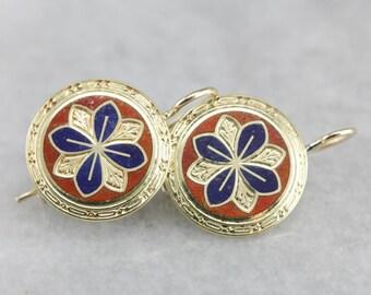 Antique Enamel Earrings, Gold Disk Drop Earrings, Estate Jewelry, Bridal Jewelry W3HL2CF9-N