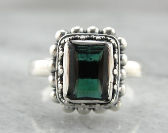 Green Tourmaline Statement Ring in Sterling Silver 627EQN-D