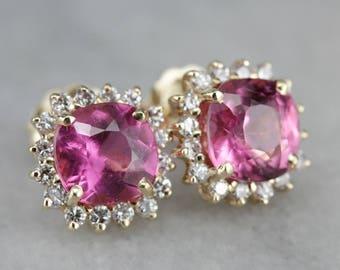 Fun Pink Tourmaline Earrings, Halo Stud Earrings, Anniversary Gift, Stud Earrings Q134QKQ7-R