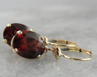 Deep Red Garnet Drop Earrings in Yellow Gold, Gorgeous Wine Red Gemstones for Any Occasion  R737DD-R