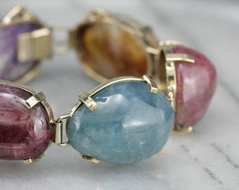 Rainbow Tumbled Gemstone Stones Bracelet, Cabochon Link Bracelet, Statement Bracelet 92PJ8K56-R