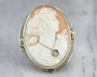 Art Nouveau Cameo Brooch, Diamond Cameo, Estate Jewelry TYQ8HYKF-P