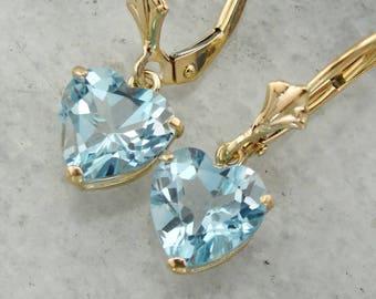 Light Blue Topaz Heart Shaped Earrings, Topaz Drop Earrings, Something Blue NYZ7Z3-D