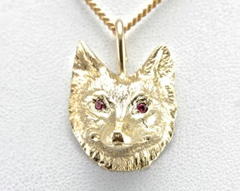 Little Red Ruby Wolf, Cunning Gold Wolf Head Pedant, Spirit Animal Pendant XD8ZQ9-D
