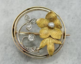 Lovely Antique Diamond and Seed Pearl Floral Brooch, Antique Diamond Brooch, Antique Pin 3TW50T-D