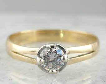 Vintage Diamond And Gold Illusion Set Ring 38C1XW-D