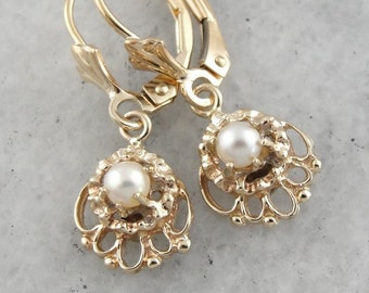 Pearl Filigree Drop Earrings in Yellow Gold Filigree EW9R0X-D