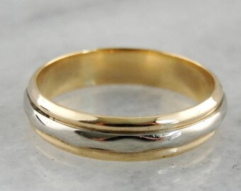 Vintage Two Tone Gold Wedding Ring, Yellow White Gold Ring, Two Tone Gold Band, Yellow White Gold Band, Art Carved 25TQ9T-R