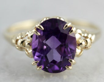 Amethyst Solitaire Ring, February Birthstone, Floral Ring, Right Hand Ring WQYDYY-N