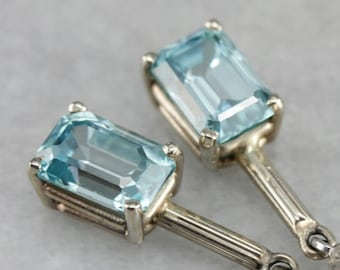 Blue Topaz Drop Earrings, Topaz and White Gold, Bridal Jewelry P7PXRXYJ-P
