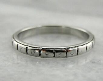 Vintage Patterned White Gold Ring, Patterned Band, White Gold Band, White Gold Wedding Band, 335396-P