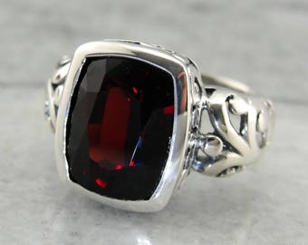 Contemporary Filigree Garnet Ring in Sterling Silver PPVXF7