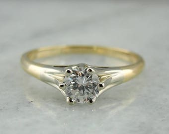 Vintage Two Tone Diamond Solitaire Engagement Ring, Six Prong Setting, 7PAQ3Q-N