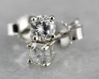 Diamond Stud Earrings, Diamond and White Gold, Classic Diamond Earrings AXX1R660-C