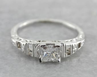 Vintage Princess Cut Diamond Engagement Ring, Art Deco White Gold Diamond Ring, Antique Engagement Ring LNAHW1-P