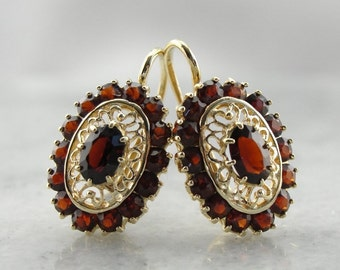 Filigree Garnet Drop Earrings 6X3F5N-R