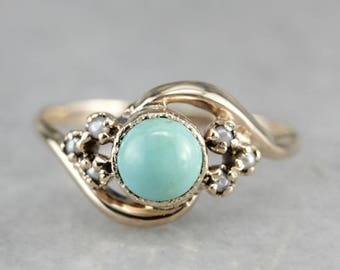 Vintage Turquoise Bypass Ring, Turquoise and Pearl, Right Hand Ring, Birthstone Ring FKK4C4XX-P
