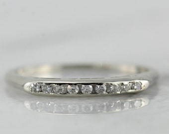 Vintage Diamond Wedding Band in White Gold, Great Retro Style  D1EY77-D