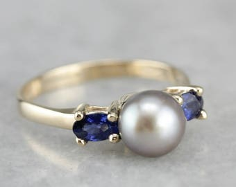 Grey Pearl and Sapphire Ring, Anniversary Ring, Right Hand Ring, Three Stone Ring DWQVNXD0-P