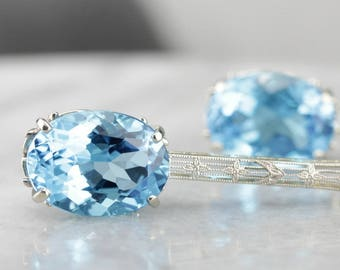 Long Blue Topaz Filigree Drop Earrings 7Q45C2-N