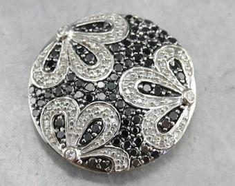 Diamond Slide Pendant, Black Diamond Pendant, Floral Pendant, Circle Pendant, Diamond Anniversary ELHXQLH3-C